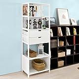 SoBuy®Armario columna para baño,Librería - 4 estantes y 2 cajones,blanco,FRG182-W,ES