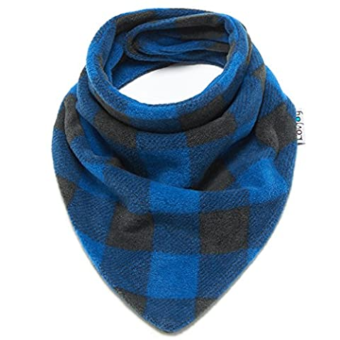 Baby Toddler Cute Warm Fleece scarf/ Snood. Soft & Cozy. Fits 6 months - 3 Years. More Designs For Boys & Girls! (Blue black checks)