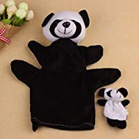 Windwide 2Pcs Panda Soft Animal Finger Puppet Baby Kid Toy Plush Toys