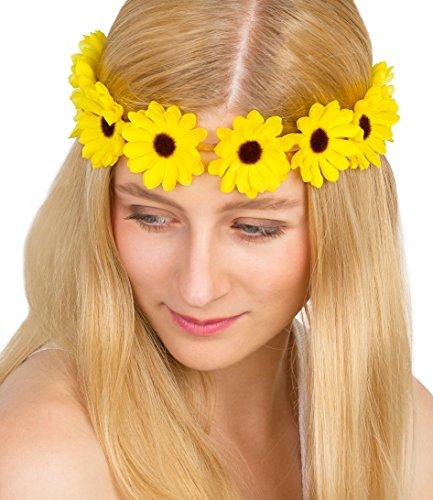 SIX Stirnband mit Sonnenblumen: Elastischer Blumenkranz mit gelben Stoffblumen, Hippie-Look, Kopfschmuck für Karneval und Festival (252-894)