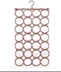 Metal Folding Rope Hanger with 28 Rings for Scarf, Belts, Shawls and Ties, 28-inch (Multicolour, 28_Ring_Folding_Hanger)
