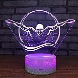 Nuoto 3D Led Night Light Acrilico Lampada Visiva 7 Cambia Colore Letto Piccolo Tavolo Lampade Apparecchio Camera Da Letto Usb Kids Decor Lamp