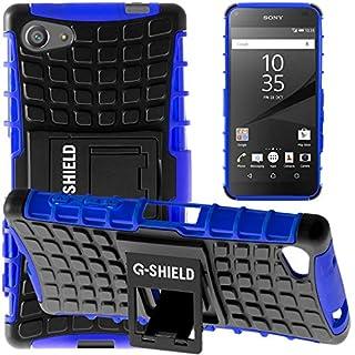 G-Shield Hülle für Sony Xperia Z5 Compact Stoßfest Schutzhülle mit Ständer Silikon Hybrid Armor Handyhülle mit Displayschutzfolie und Stylus - Blau