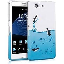 kwmobile FUNDA de TPU silicona para Sony Xperia Z3 Compact Diseño pingüinos negro azul blanco - Estilosa funda de diseño de TPU blando de alta calidad
