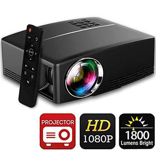 Beamer 1800 Lumens Full HD 1080P, BACAKYS Mini Tragbarer Heimbeamer LED Videoprojektor Auflösung Kontrast 2200:1 Home Entertainment USB/SD/AV/HDMI/VGA Eingang für TV/PC/XBOX/Phones