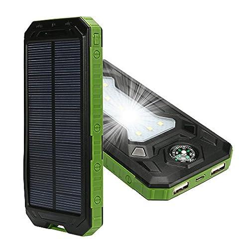 Boussole et chargeur solaire 20000mAh Tingso Emergency, chargeur portable d'urgence chargeur de batterie de secours, solaire, étanche, double USB, chargeur avec panneau solaire et 2 lampe DEL de poche pour iPhone/iPad, Samsung et Android, téléphones portables