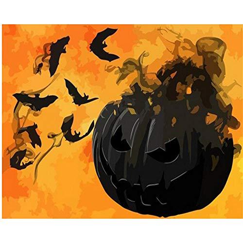 en nach Zahlen Kit für Erwachsene Anfänger, Creative Gemälde auf Leinwand,Landschaft, schwarze Kürbislichter, Halloween mit hölzernem Feld, 16x20inches ()