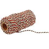 Gosear 1 Rollo de 100 Yardas de 2 hebras de Hilo de algodón cordeles Cuerda Cable para acolchar Regalo Envolver Scrapbooking artesanías Bricolaje (Rojo + Verde + Blanco)