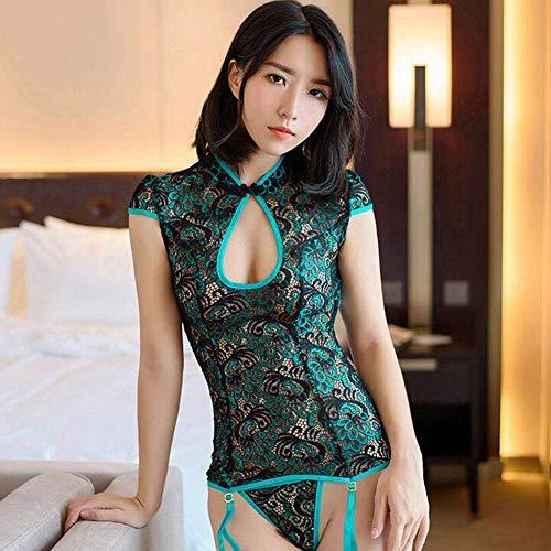 QWE Sexy Pfau-Stickerei Cheongsam Versuchungs-Pyjamas der sexuellen Unterwäschefrauen entsprechen Damenunterwäsche -