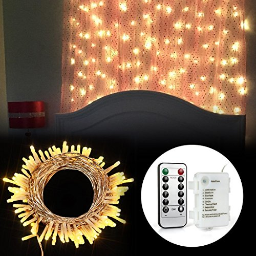 LED Outdoor Lichterkette Batterienbetrieben Warmweiß (8 Modi, IP65 Wasserdicht, Außenbeleuchtung) - 6