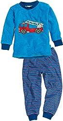 Playshoes Jungen Frottee Feuerwehr Zweiteiliger Schlafanzug, Blau (Blau 7), 98