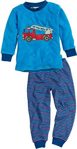 Playshoes Jungen Frottee Feuerwehr Zweiteiliger Schlafanzug, Blau (Blau 7), 92