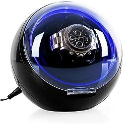Klarstein St. Gallen-Deux • Uhrenbeweger • Uhrendreher • Uhrenkasten • Uhrenbox • Kapazität: 1 x Automatikuhr • 4 vorprogrammierte Bewegungs-Modi • Rechts-Links Lauf • Laufruhig • Kugelgehäuse • Sichtfenster • LED-Lichteffekt • schwarz