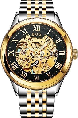 Angela Bos - Reloj automático para hombre, esfera blanca, pulsera de acero inoxidable, color dorado