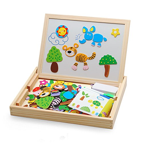 Magnetic Board Puzzle, 100 Pieces Magnetic Drawing Jigsaw Educational Wooden Toy for Kids Girls Boys 3 4 5 6 Years Old