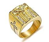 Vnox Herren Edelstahl Kristall Christian Heilige Jesus Kreuz Ehering Signet Ring Gold