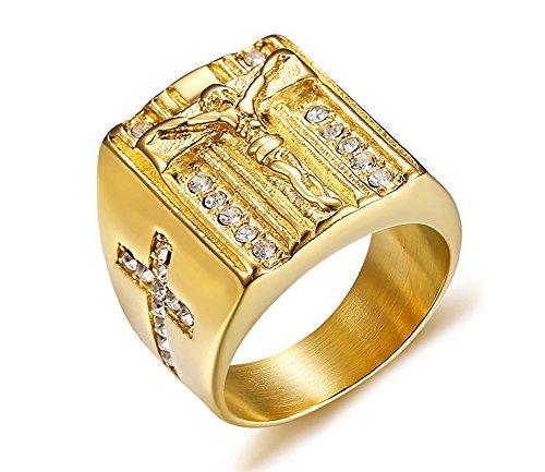Vnox Herren Edelstahl Kristall Christian Heilige Jesus Kreuz Ehering Signet Ring Gold (14k Gold Schmuck Ringe)