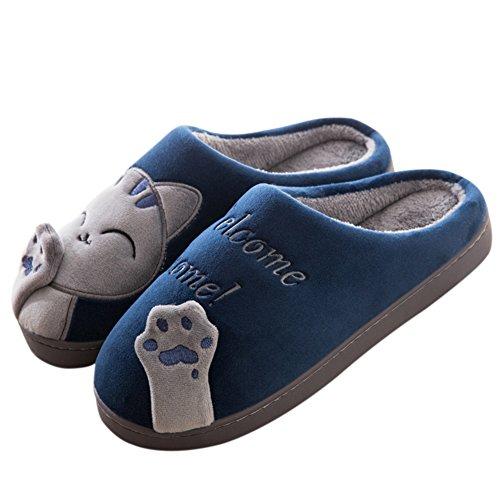 FANTURE Winter Baumwolle Pantoffeln Plüsch Wärme Weiche Hausschuhe Kuschelige Home Rutschfeste Slippers mit Cartoon für Herren Damen WZD006-Blue-42/43