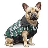 Manteau à carreaux réversible pour chien Automne Hiver Gilet confortable et confortable Manteau à rembourrage pour chien de style britannique pour petits et grands chiens de taille moyenne (Vert,M)