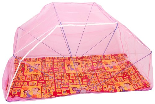 Elegant Single Bed 3*6 Pink color Mosquito Net