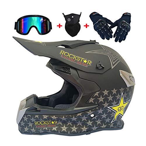 Motocross-Helm - Herren Motorrad-Helm, Motorräder Cross-Helm für Männer Damens, Motorrad Off-Road-Helm Cross-Bike Dirt-Bike DH Enduro Helm mit Brille, Handschuhe, Maske,A,L
