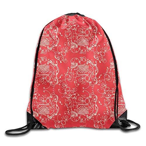 Naiyin Folding Sport Backpack Casual Daypacks for Team Group Men Women - (Vintage Red Elephant Flowers Pattern) Vintage Folding Camera