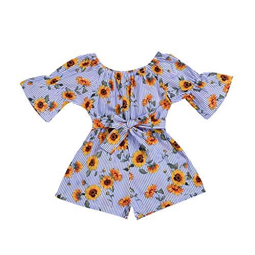 jerferr Softshell Overall Kleinkind Off Shoulder Floral Sonnenblume gedruckt Bow Romper Jumpsuit