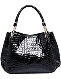 Monique Women Alligator Pattern Handbag Clutch Bag Travel Tote Evening Party Sling Bag Shoulder Bag Black