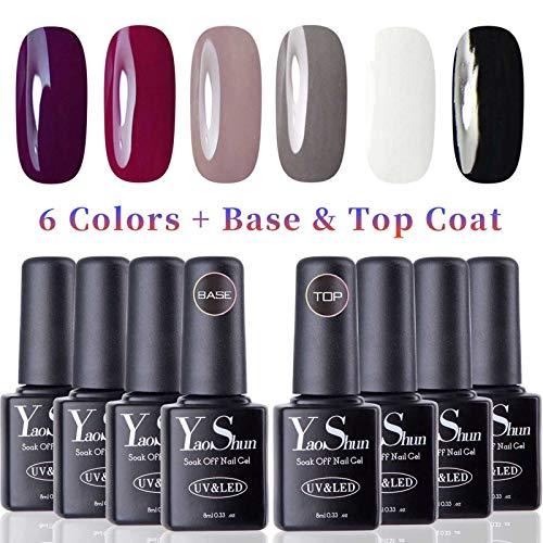 Vernis Gel Semi Permanent - Y&S UV LED Vernis à Ongles Gel Soak Off Débutant Kit 6 Couleurs Plus Top et Base Coat, 8ml Chaque Flacon, Lot Gradia