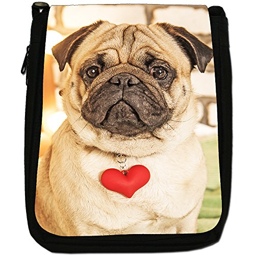 Carlino Pugs Love Little Cani Medium Nero Borsa In Tela, taglia M Pug Wearing Red Love Heart