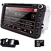 HIZPO VW8002, HIZPO 8 inch Double Din In Dash Car Stereo for VW Volkswagen Golf Passat Polo Jetta Tiguan EOS Touran Scirocco Skoda Seat with DVD Player Multimedia System Support GPS Navigation USB SD FM AM RDS Radio Bluetooth Wheel Control Reverse Camera