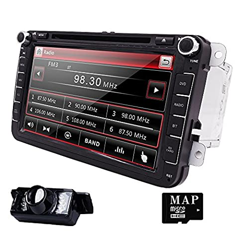 Stéréo pour voiture double-din HIZPO 20,3cm pour VW Volkswagen Golf Passat Polo Jetta Tiguan EOS Touran Scirocco Skoda Seat avec lecteur DVD / système de support multimédia / GPS / USB / SD / FM / AM / RDS / Radio / Bluetooth / commandes au volant / caméra arrière, etc.