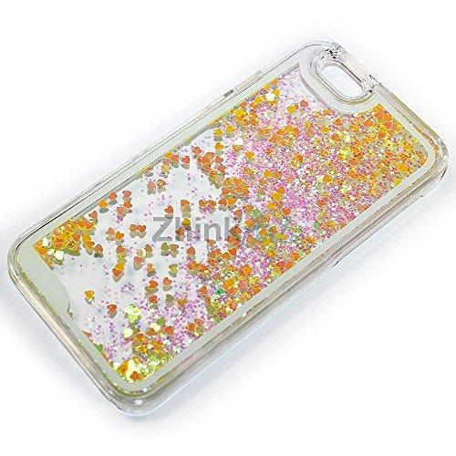 ZhinkArts Herz Liquid Case Schutzhülle Cover für Apple iPhone & Samsung Hülle Herzchen und Glitzer-Regen mit Schneekugel-Effekt Glitter Samsung Galaxy S4/i9500 Blau Gelb/Gold