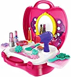 #8: Makeup Box Toy, Mirror Hairdryer and Styling Accessories, Pretend to Play Kids