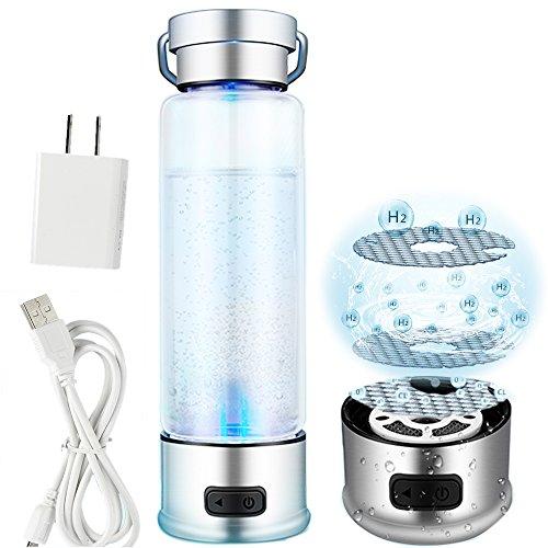 Tragbar 3-mins Reichhaltige Wasserstoff Wasser Flasche aufladbare ionisierte Wasser Generator Glas Flasche Anti Aging Antioxidans Wasser Maker 450ml