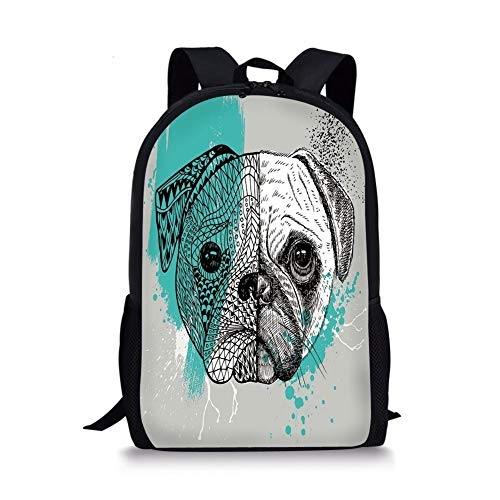 School Bags Pug,Hand Drawn Head of a Dog Blue Splashed Backdrop Two Different Halves of a Whole Decorative,Blue Black White for Boys&Girls Mens Sport Daypack -