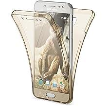 Samsung Galaxy J5 2017 EU Model Funda Carcasa Protectora 360 Grados de NICA, Movil Silicona Ultra-Fina Transparente, Doble Delantera torno protección, Cubierta Bumper Cover Case, Color:Gold Oro