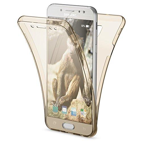 Samsung Galaxy J3 2017 (EU-Modell) Hülle 360 Grad Handyhülle von NALIA, Full Cover Vorne & Hinten Rundum Doppel-Schutz, Dünnes Ganzkörper Case Silikon, Transparent mit Displayschutz, Farbe:Gold