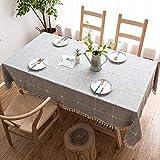 J-MOOSE Tovaglia in Cotone e Lino Anti-Macchia Tovaglia per Tavolo Rettangolare Decorazione Domestica della Cucina (140x180cm, Lattice Gray)