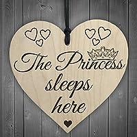RED OCEAN The Princess Sleeps Here Wooden Hanging Heart Bedroom Plaque Girls Door Sign