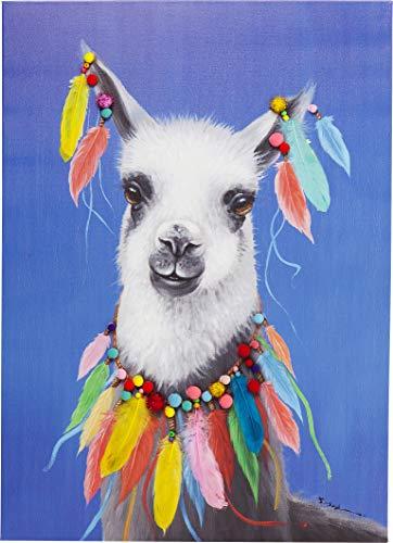 Kare Design Bild Touched Lama Pom Pom, XXL Leinwandbild auf Keilrahmen, Wanddekoration mit Lama, bunt (H/B/T) 100x70x4cm (Bilder Von Einem T)