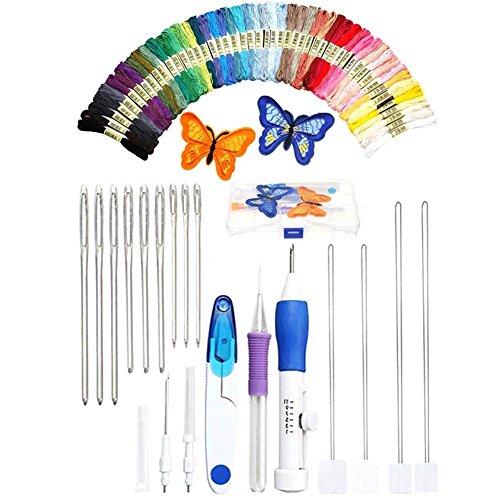 1Set À faire soi-même Broderie Stylo Stitching punch aiguille Kits Avec Ciseaux Sewing Kits