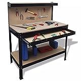 Tidyard Banco di Lavoro con Pannello Forato e Cassetto, Tavolo da Lavoro in Acciaio per Garage, 115x55x140 cm