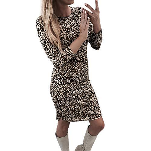 Zegeey Sommerkleid Damen Casual V Ausschnitt Trägerkleid Knielang Elegant Leopard Ärmellos Schulterfrei Strandkleid Lose V-Ausschnitt Partykleid für Brautjunfer Hochzeit Karneval Fasching Fasnacht