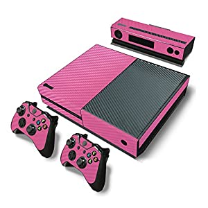 Zhuhaixmy Pink Carbon Fiber Sticker Decal Skin Set For Microsoft Xbox One Console+Controllers