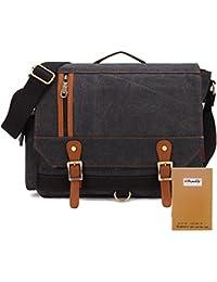 Canvas Umhängetasche Herren Vintage Messenger Bag KAUKKO Schultertasche Handtaschen mit Seitentasche