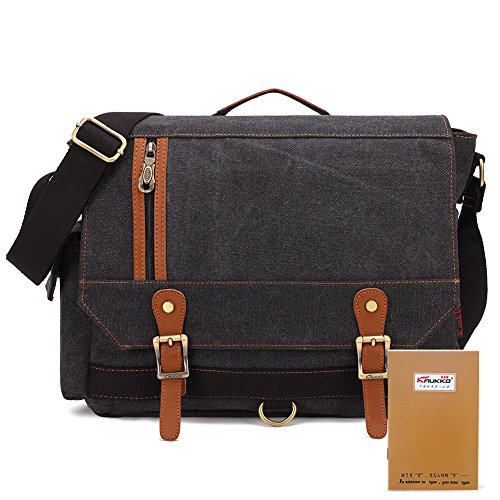 KAUKKO Vintage Canvas Messenger Bag Daypacks Men Multifunction Shoulder Bags Handbags Schwarz