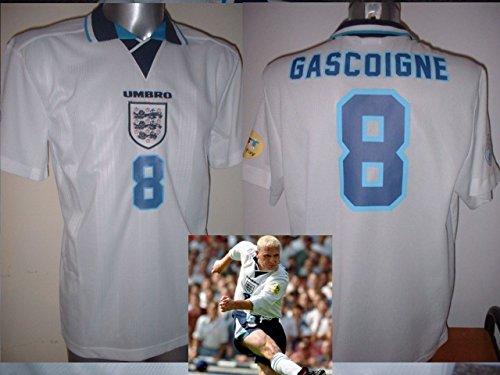 England Euro 1996von Paul Gascoigne Gazza Retro Shirt Trikot BNWT Erwachsene groß Fußball Baumwolle Lazio Radsport Trikot Newcastle Rangers World Cup Italien Italia Tottenham Hotspur