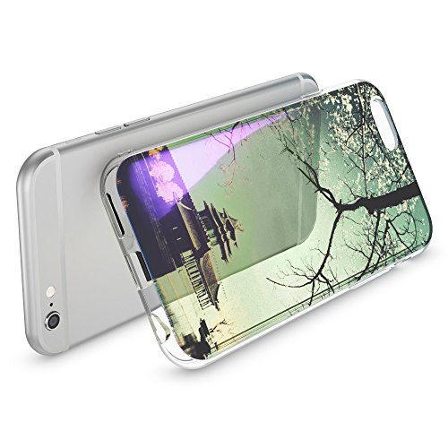 iPhone 6 6S Hülle Handyhülle von NICA, Slim Glitzer TPU Silikon Case Cover Crystal Schutzhülle Dünn Durchsichtig, Handy-Tasche Backcover Transparent Bumper für Apple iPhone-6, Designs:Colored Bokeh Chinese Temple
