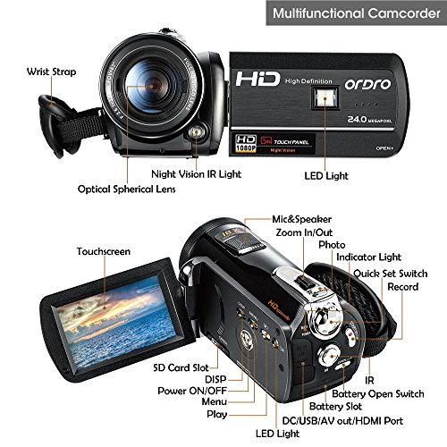 ORDRO Professionell Wifi Camcorder Full HD 1080P 30FPS Digitale Videokamera mit Nachtsicht 3,0 Zoll LCD Touchscreen Fernbedienung (D395)